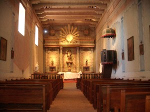Mission San Miguel interior with murals
