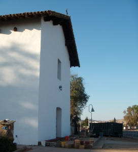 Mission San Miguel restoration at twilight