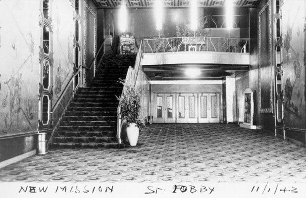 Pflueger's remodel of the New Mission Theatre, courtesy San Francisco History Center, San Francisco Public Library