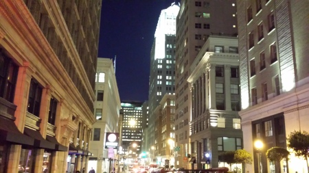 New Montgomery Street at night, photo by Eric Poindessault