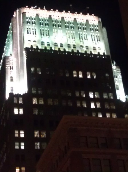 Telephone Building, now officially called 140 New Montgomery, lit by floodlights at night. Photo (c) Therese Poletti