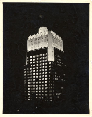 Telephone Building at night, 1929, courtesy San Francisco History Center, SF Public LIbrary